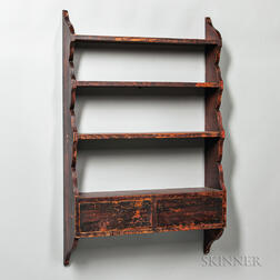 Grain-painted Shaped Wall Shelf with Two Drawers