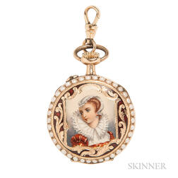 Antique 14kt Gold and Enamel Open Face Pendant Watch