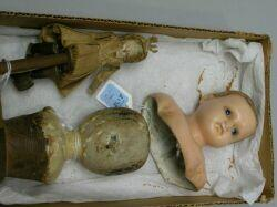 English Wax and Wooden Doll Heads and Wooden Toy