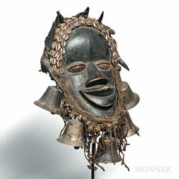 Dan-style Carved Wood and Bronze Bell Deangle Mask
