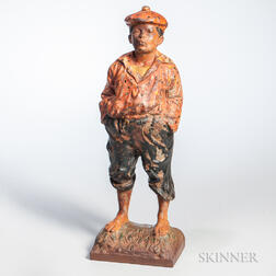 "Painted Cast Iron ""Whistler Jim"" Doorstop"