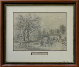 Framed Pencil Drawing Toll Gate Jamaica L.I.