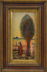 American School, 20th Century      Allegorical Scene with Robed Figure, Tree, and Nude