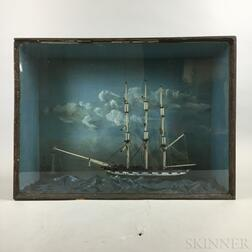 Carved and Painted Wood Ship Diorama