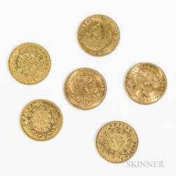 Six French 10 Franc Gold Coins