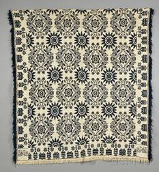 Blue and White Woven Wool and Cotton Beiderwand Coverlet