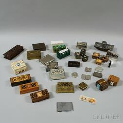 Thirty-four Mostly Metal and Wood Stamp Boxes