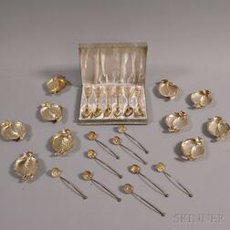 Ten Sterling Silver Pomegranate Dishes, Nine Spoons, Box of Six Spoons