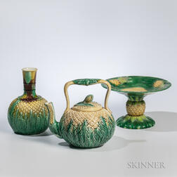 Three Majolica Pineapple-decorated Items
