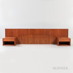 Wall-mounted Teak Headboard with Two Nightstands