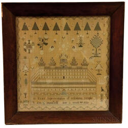 Large Framed Needlework Sampler of Solomon's Temple