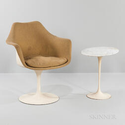 Eero Saarinen for Knoll Covered Tulip Armchair and Oval Marble Top Table