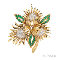 18kt Gold, Diamond, and Emerald Brooch, Charles Vaillant