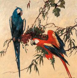 James Topping (American, 1879-1949)      Two Parrots on a Branch