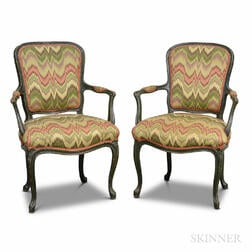 Pair Louis XV Green-painted and Upholstered Fauteuil
