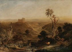 Attributed to Horatio McCulloch (Scottish, 1805-1867)      Scottish Landscape, Possibly Castle Campbell