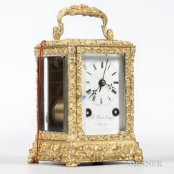 Leon Clement Bourgeois Gilt Carriage Clock