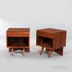 Pair of George Nakashima (1905-1990) Walnut End Tables