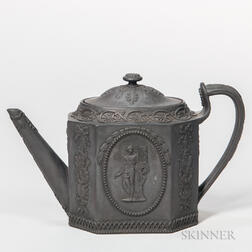 Wedgwood Black Basalt Silver Shape Teapot and Cover