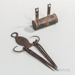 Wrought Iron Skewer Set and a Miniature Tin Candle Box