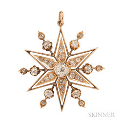 Antique Gold and Diamond Starburst Pendant