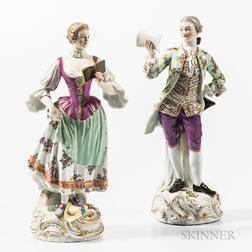 Meissen Porcelain Figures of a Man and Woman
