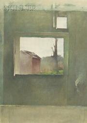 Peter Poskas (American, b. 1939)    View Through the Window/The Red Barn