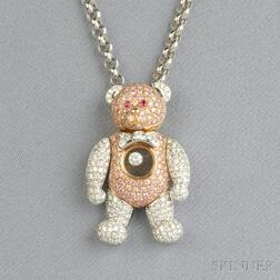 "Diamond and Pink Diamond ""Happy Diamonds"" Teddy Bear Pendant, Chopard"