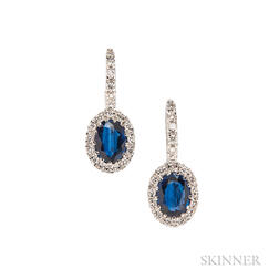 18kt Gold, Sapphire, and Diamond Earrings