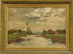 Dutch School, 19th/20th Century      Marsh with Buildings and Windmill