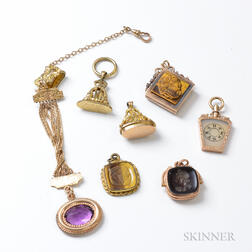 Seven Gold-filled Fobs