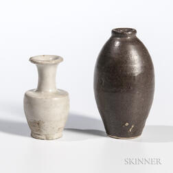 Two Miniature Glazed Vases