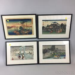 Nine Framed Japanese Woodblock Prints.     Estimate $20-200