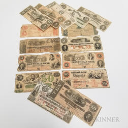 Fifteen Confederate and Southern States Obsolete Bank Notes