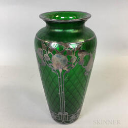 Iridescent Green Art Glass Vase with Silver Overlay