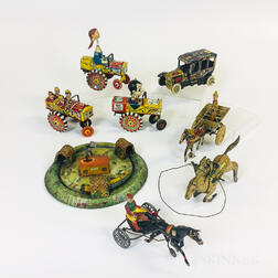Eight Tin Litho Wind-up Toys