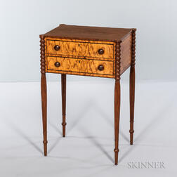 Federal Mahogany and Figured Maple Veneer Sewing Table