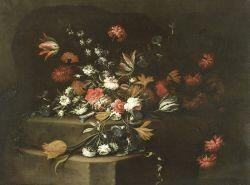Italian School, 17th/18th Century Style  Formal Floral Still Life With Tulips, Carnations, and Morning Glories