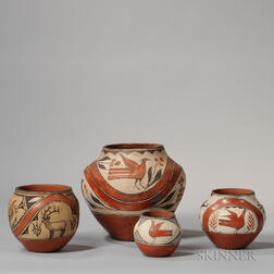 Four Zia Polychrome Pottery Jars