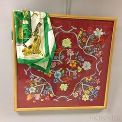 "Hermes ""Etriers"" Silk Scarf and Framed Gucci Silk Scarf"