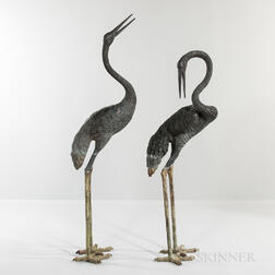 Pair of Bronze Garden Cranes