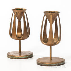 Pair of Mid-century Modern Bronze Candleholders