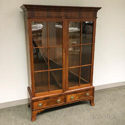 Federal-style Glazed Mahogany Two-drawer Bookcase