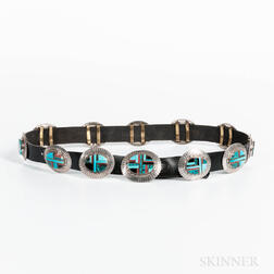 Zuni Silver and Turquoise Concha Belt