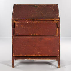 Primitive Red-painted Pine Slant-lid Desk
