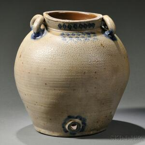Large Cobalt-decorated Stoneware Water Cooler