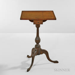 Cherry Inlaid Candlestand with Drawer