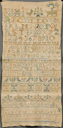 Unframed Early Needlework Sampler