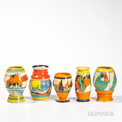 Five Clarice Cliff Pottery Vases