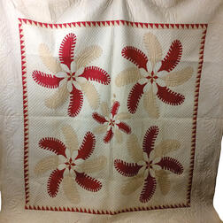 "Appliqued Cotton ""Princess Feather"" Quilt.     Estimate $200-250"